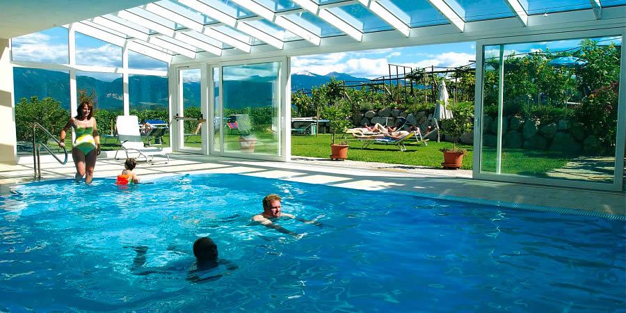 Swimming pool with panoramic view into the parc and the mountains